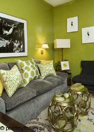 ремонт комнаты в зеленом цвете