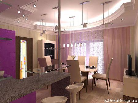 дизайн кухни в фиолетовых тонах