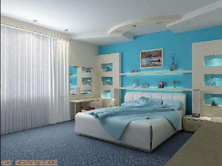 дизайн интерьера в синих тонах