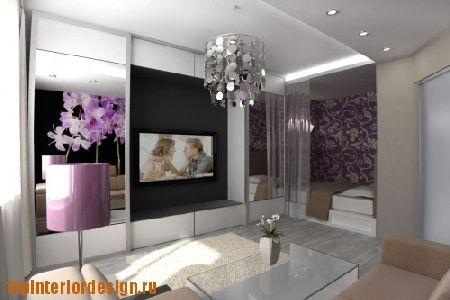 дизайн гостиной спальной комнаты фото