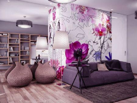 дизайн гостиной в лиловых тонах